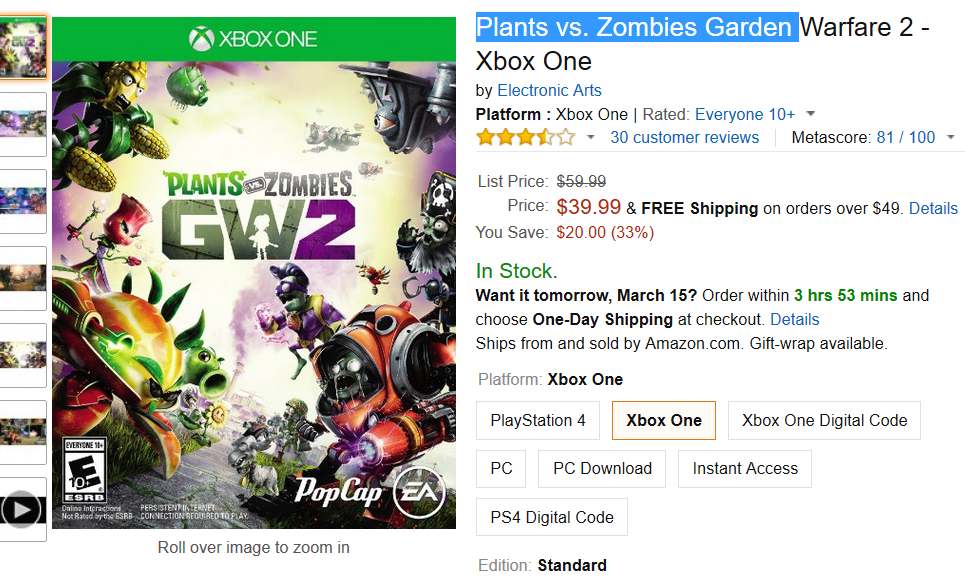 A Very Por Plants Vs Zombies Garden Warfare 2 For Xbox One Is On Today Now We Can Grab It Only 39 99 Which 33 Lesser Than The