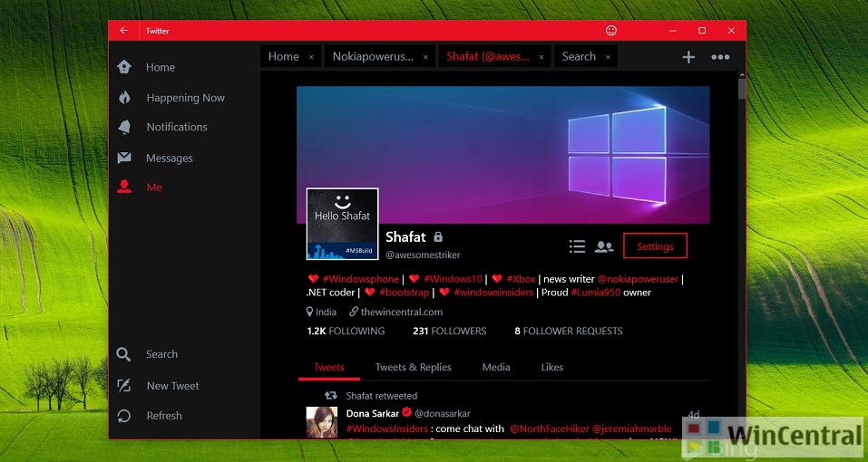 Twitter app Windows 10
