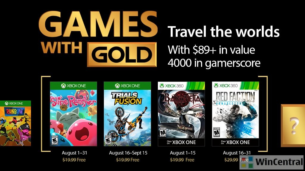 Here are the Xbox Live Games With Gold For August 2017