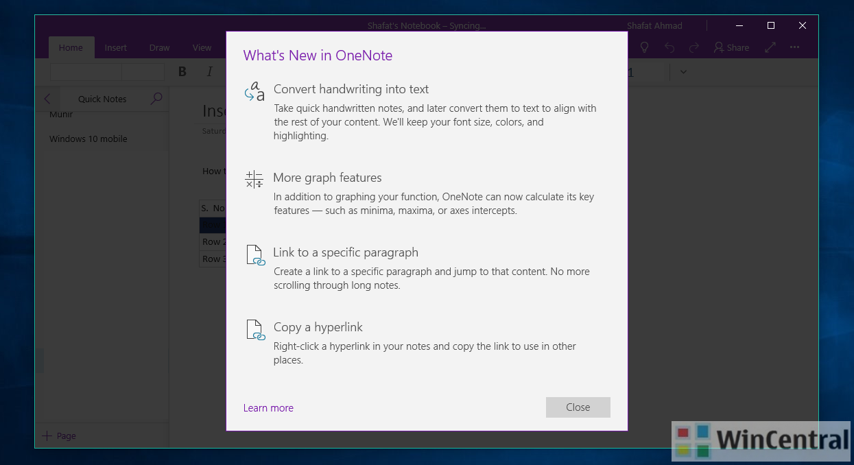 Microsoft has released a yet another feature-rich monthly update for OneNote  app users on Windows 10 PC and Mobile.