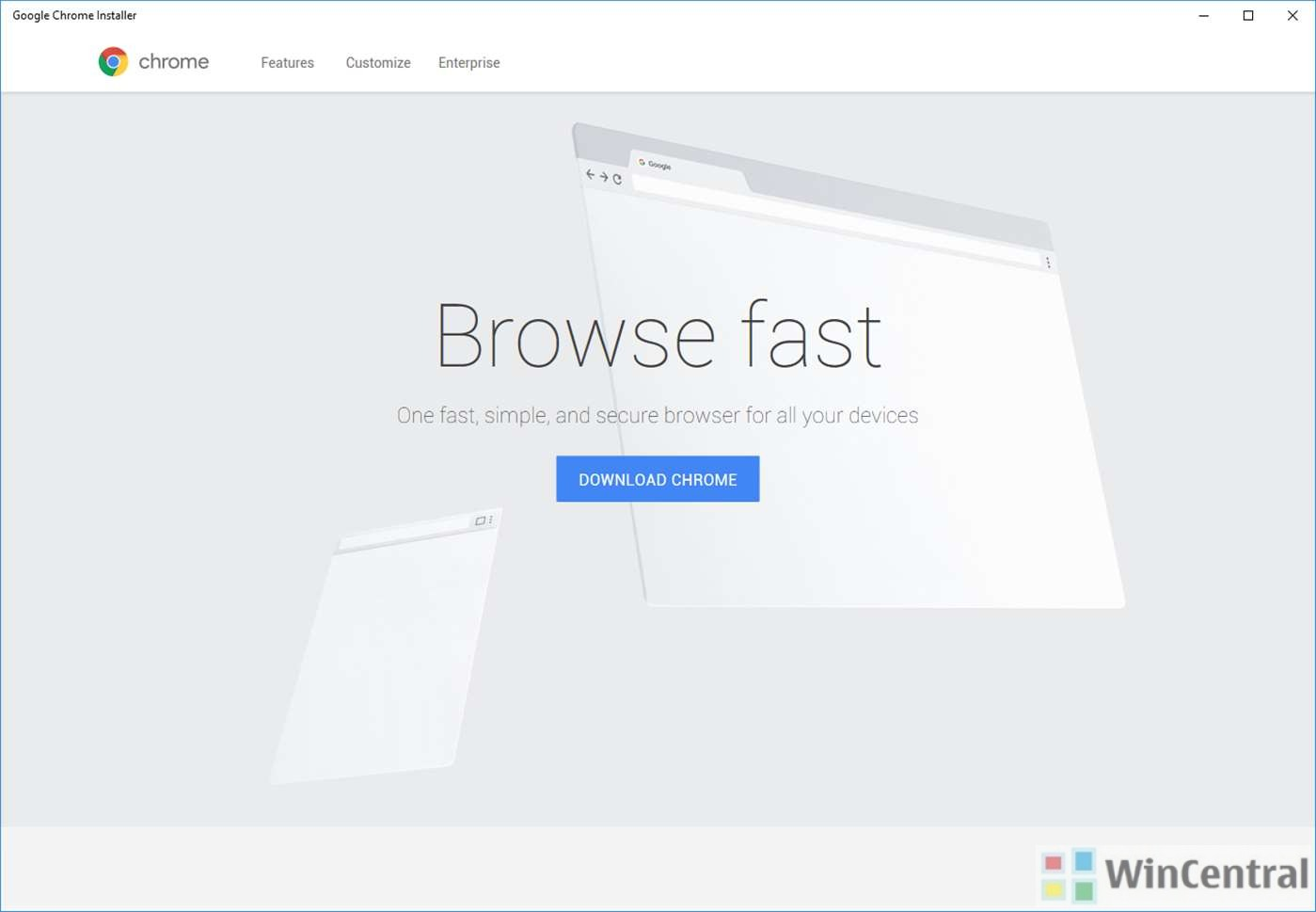 Link for Google Chrome is now available in the Microsoft Store