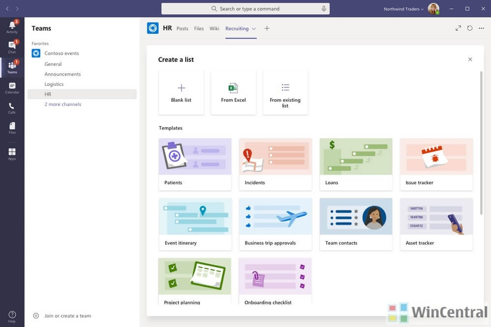 Lists app in Microsoft Teams