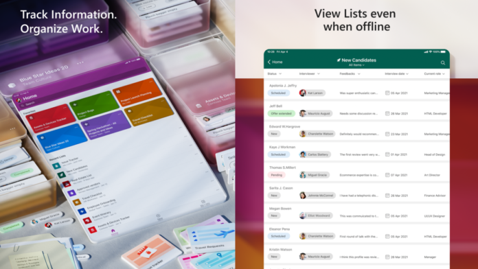 Microsoft Lists app iOS